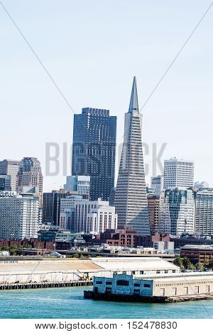 Buildings in the skyline of San Francisco California
