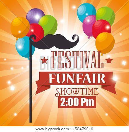poster festival funfair balloons flying mustache vector illustration eps 10