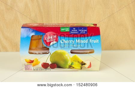 RIVER FALLS,WISCONSIN-OCTOBER 19,2016: A package of mixed fruit cups in real juice.
