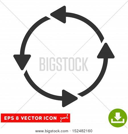 Rotation CCW EPS vector icon. Illustration style is flat iconic gray symbol on white background.