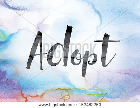 Adopt Colorful Watercolor And Ink Word Art