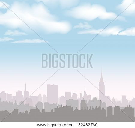 New York Skyline. USA City landscape. Cityscape in the early morning. Manhattan Skyline with Empire State Building