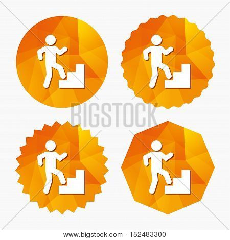 Upstairs icon. Human walking on ladder sign. Triangular low poly buttons with flat icon. Vector