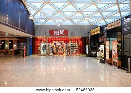 BARCELONA, SPAIN - CIRCA NOVEMBER, 2015: Relay store at Barcelona airport. Relay is a chain of newspaper, magazine, book, and convenience stores, mostly based in train stations and airports.