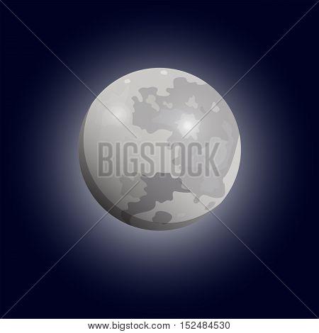 Full moon seen with a telescope. Luna flat icon. Vector eps10
