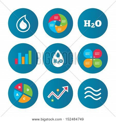 Business pie chart. Growth curve. Presentation buttons. H2O Water drop icons. Tear or Oil drop symbols. Data analysis. Vector