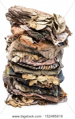 old clothes disintegrated isolated on white background