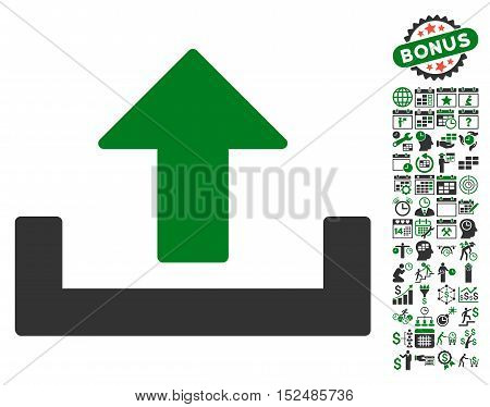 Upload pictograph with bonus calendar and time management graphic icons. Vector illustration style is flat iconic symbols, green and gray colors, white background.