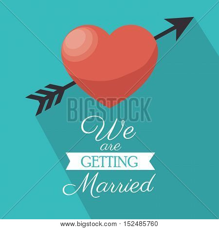 invitation we are getting married heart shadow vector illustration eps 10