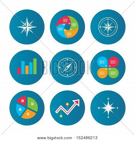 Business pie chart. Growth curve. Presentation buttons. Windrose navigation icons. Compass symbols. Coordinate system sign. Data analysis. Vector