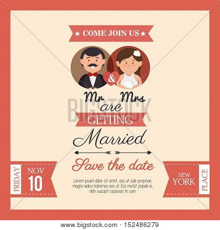wedding card mr mrs style vintage design, vector illustration  graphic
