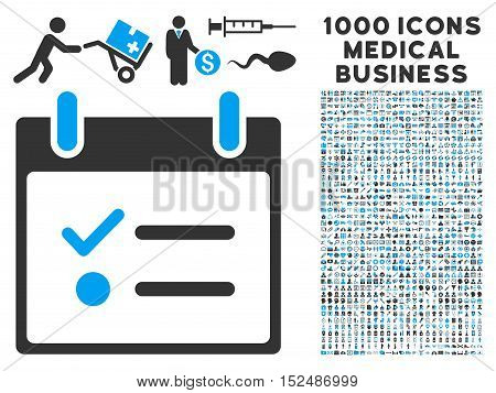 Blue And Gray Todo List Calendar Day vector icon with 1000 medical business pictograms. Set style is flat bicolor symbols, blue and gray colors, white background.