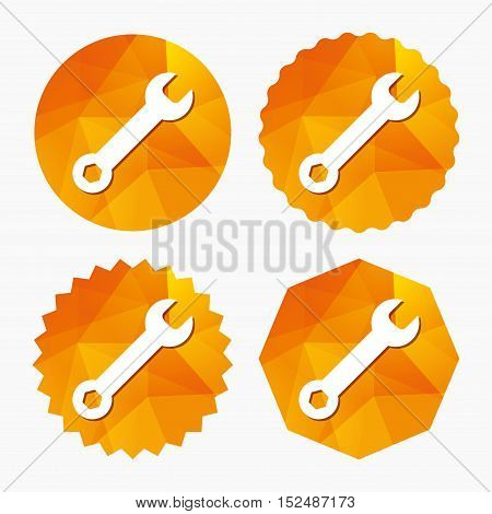 Wrench key sign icon. Service tool symbol. Triangular low poly buttons with flat icon. Vector
