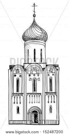 Russian Famous Landmark The Church of the Intercession of the Holy Virgin on the Nerl River. Architectural building sketch.