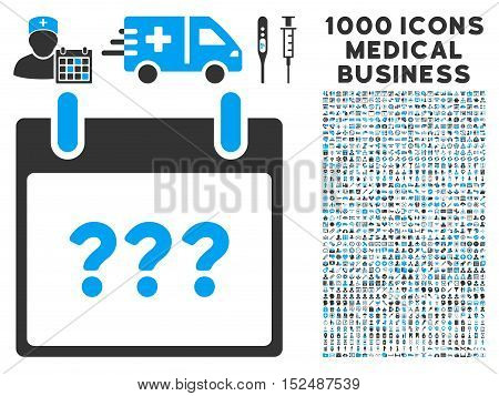 Blue And Gray Unknown Day Calendar Page vector icon with 1000 medical business pictograms. Set style is flat bicolor symbols, blue and gray colors, white background.