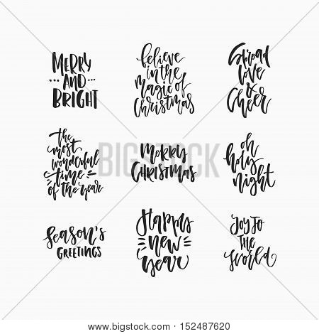 Wonderful handwritten Christmas wishes for amazing holiday greeting cards. Handdrawn lettering. Christmas and New Year card design elements.