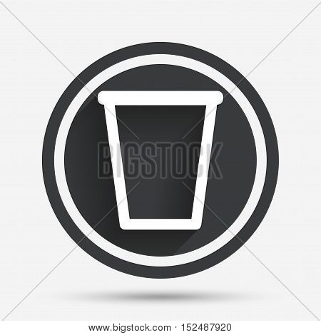 Recycle bin sign icon. Bin symbol. Circle flat button with shadow and border. Vector
