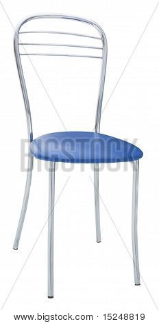 metal chair with a soft blue seat isolated on white poster
