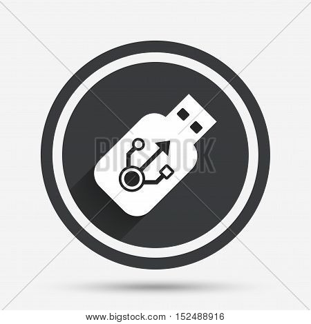 Usb sign icon. Usb flash drive stick symbol. Circle flat button with shadow and border. Vector