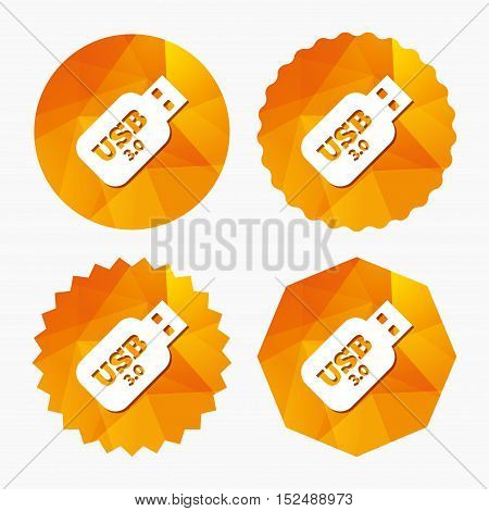 Usb 3.0 Stick sign icon. Usb flash drive button. Triangular low poly buttons with flat icon. Vector