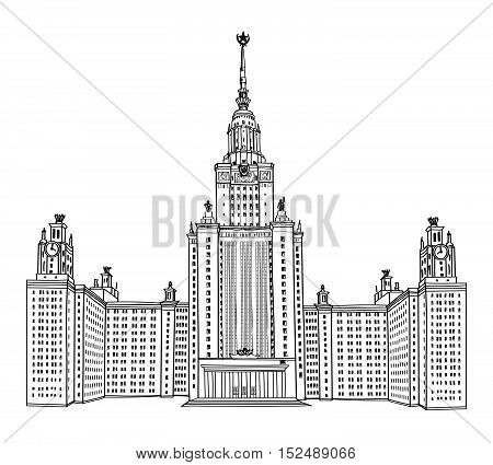 Moscow State University Building. Russian Moscow famous landmark. MGU, Russia. Engraving illustration isolated on white background.