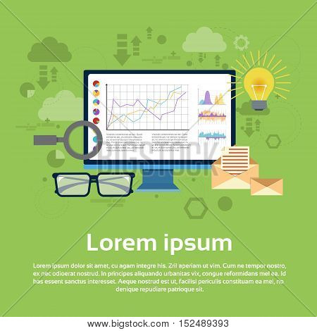Analysis Computer Finance Diagram Infographic Magnifying Glass Set Digital Marketing Flat Vector Illustration