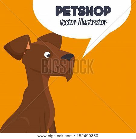 pet shop brown doggy and bubble speech design graphic vector illustration eps 10