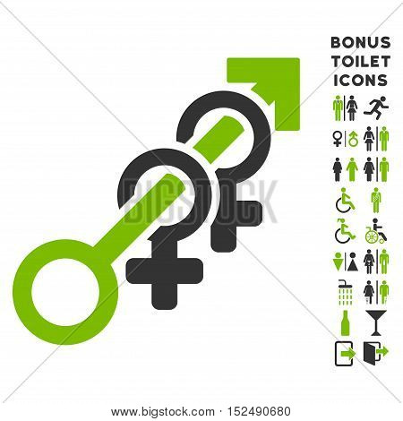Harem icon and bonus man and woman lavatory symbols. Vector illustration style is flat iconic bicolor symbols, eco green and gray colors, white background.