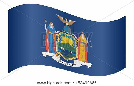 New Yorker official flag symbol. American patriotic element. USA banner. United States of America background. Flag of the US state of New York waving on white background vector