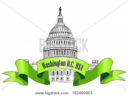 Washington DC Capitol Building sign, USA. Famous american place. Hand Drawn Landmark. Pencil Illustration.