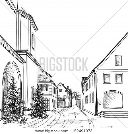 Street in old city. Cityscape - houses, buildings and tree on alleyway. Old city view engraving. Medieval european castle landscape. Pencil drawn sketch