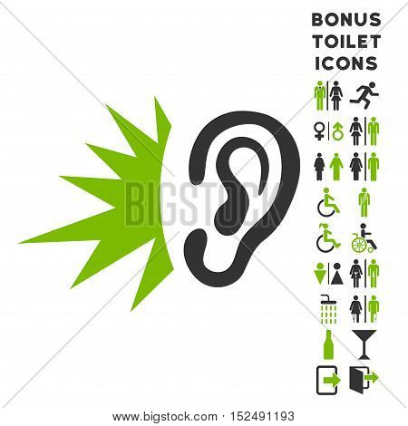 Listen Loud Sound icon and bonus male and female WC symbols. Vector illustration style is flat iconic bicolor symbols, eco green and gray colors, white background.