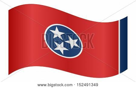 Tennessean official flag symbol. American patriotic element. USA banner. United States of America background. Flag of the US state of Tennessee waving on white background vector
