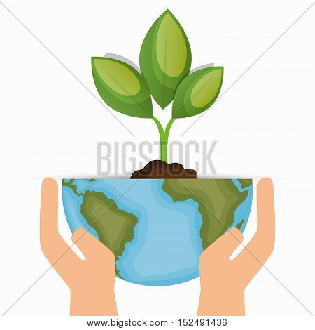 enviornment symbol hand hold world and plant vector illustration eps 10