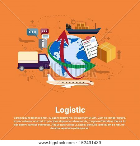 Logistic Shipping Delivery Service Web Banner Flat Vector Illustration