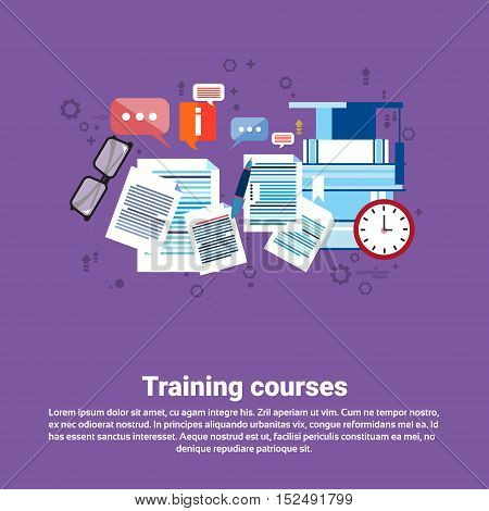 Learning Training Courses Education Web Banner Flat Vector Illustration