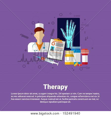 Hospital Therapy Medical Application Health Care Medicine Online Web Banner Flat Vector Illustration