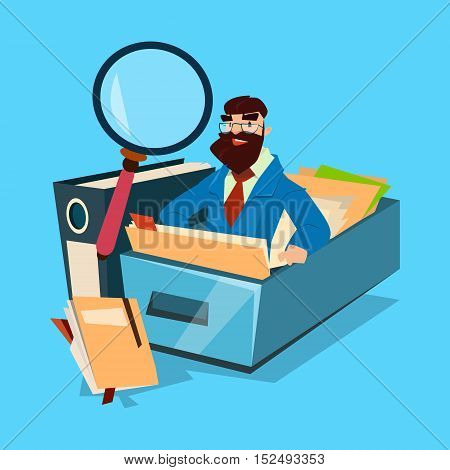 Business Man With Magnifying Glass Finance Documents Analysis Flat Vector Illustration