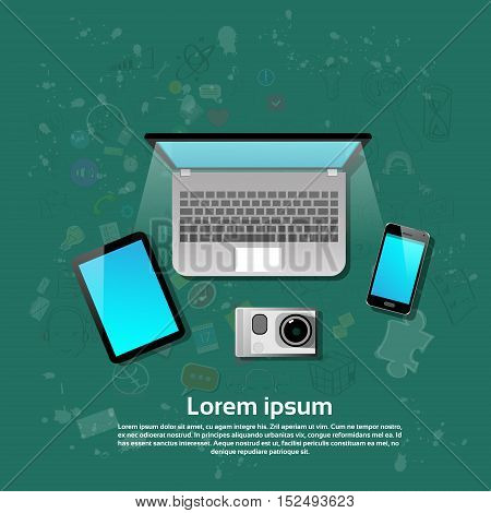 Laptop Computer Tablet Cell Smart Phone Video Camera Set Flat Vector Illustration