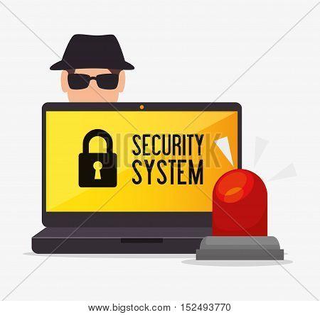 laptop alert security system hacker vector illustration eps 10
