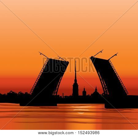 St. Petersburg landmark, Russia. Saint Peter and Paul Cathedral and Fortress with bridge and tower steeple, sunrise view from Neva river. Russian cityscape silhouette background.
