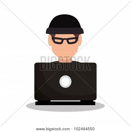 hacker attack system security intruder vector illustration eps 10