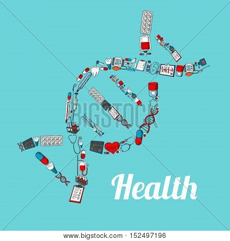 DNA strand silhouette composed of sketched stethoscope, thermometer, pill, syringe, blood bag, microscope, tooth and heart, dentist tool, ecg monitor. Medical themes design