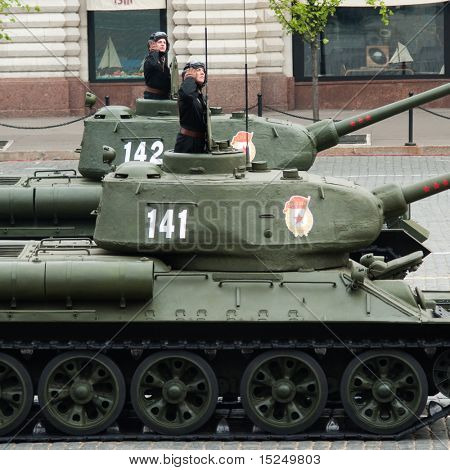 MOSCOW - 6 MAY : Russian T34 tanks in rehearsal during 65th anniversary of Victory in Great Patriotic War Military Parade at Red Square  on May 6, 2010 in Moscow, Russia