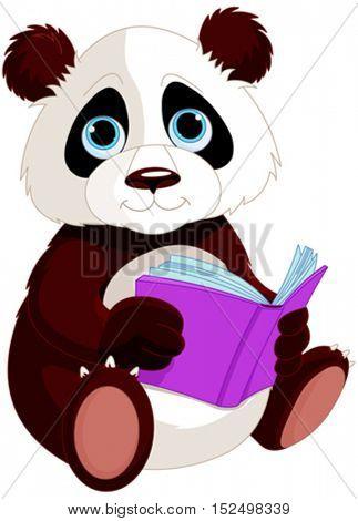 Cute Panda is reading a book. Education