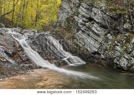 Patterson Creek cascades down a chuted waterfall in Grant County West Virginia's Greenland Gap.