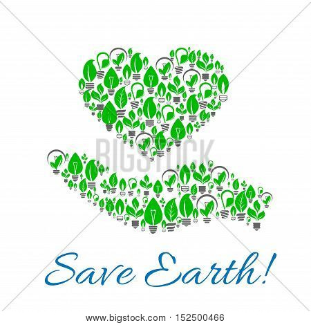 Save earth poster of hand with heart made up of energy saving light bulbs with green leaves. Ecology, green energy, power saving themes design