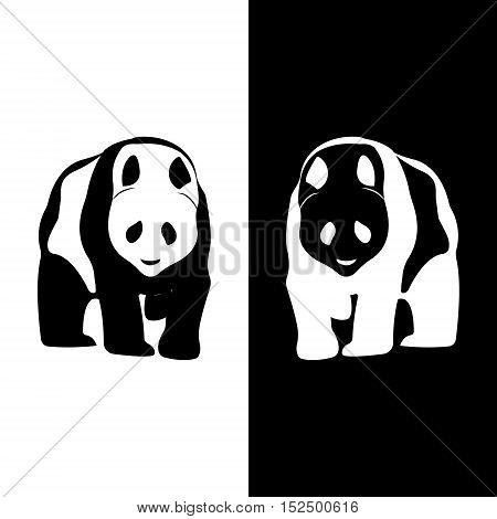 Panda logo. Silhouette vector symbol of panda for design company's logo, tattoo, visit card, etc. Monochrome sign of animal.