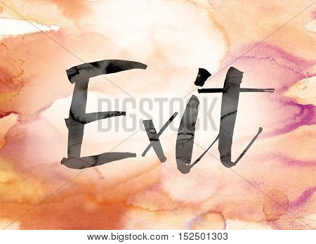 Exit Colorful Watercolor And Ink Word Art