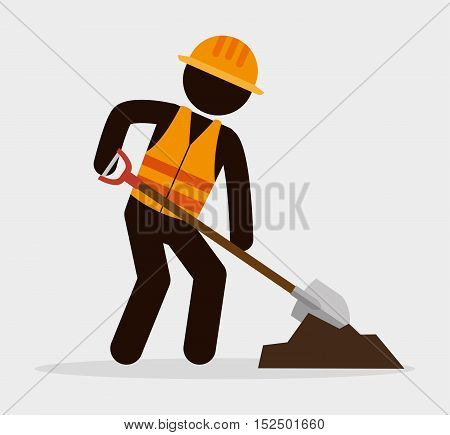 silhouette man worker shovel and cement vector illustration eps 10